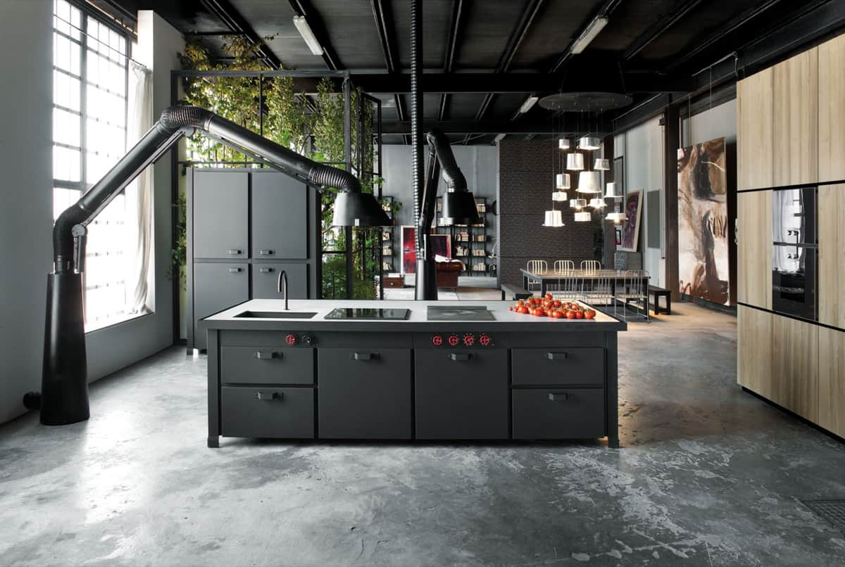 cement flooring Industrial Kitchens with Alluring Style