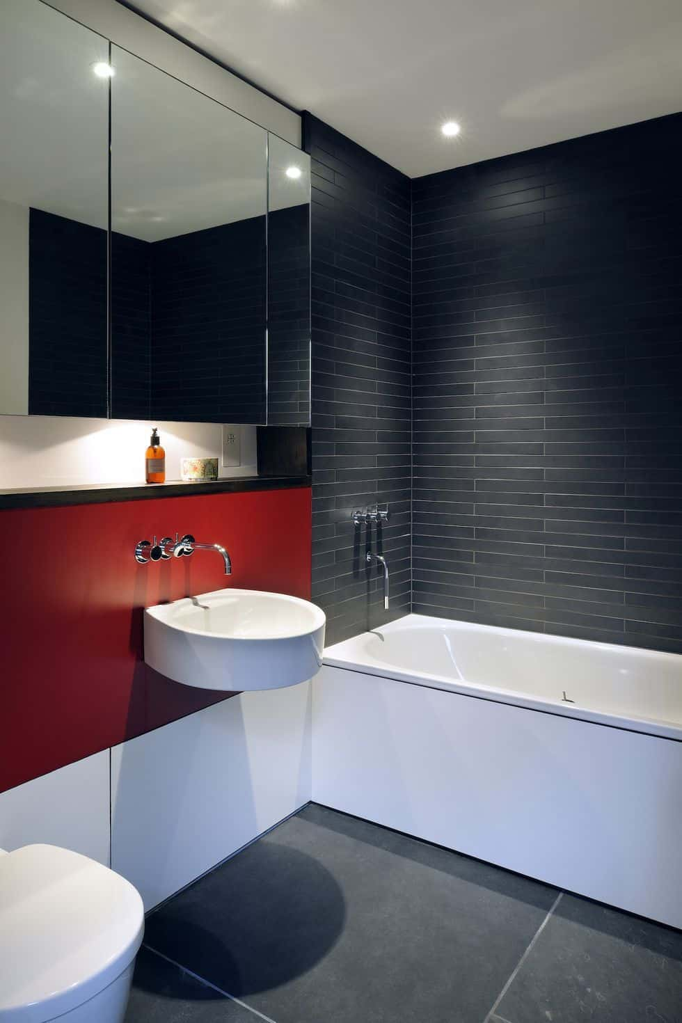 gray blathroom with red