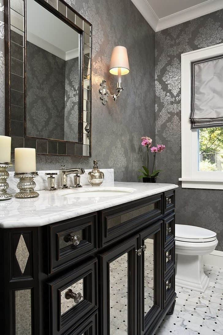 gray with mirror Beautiful Grey Bathroom Ideas   How To Bring A Timeless Touch