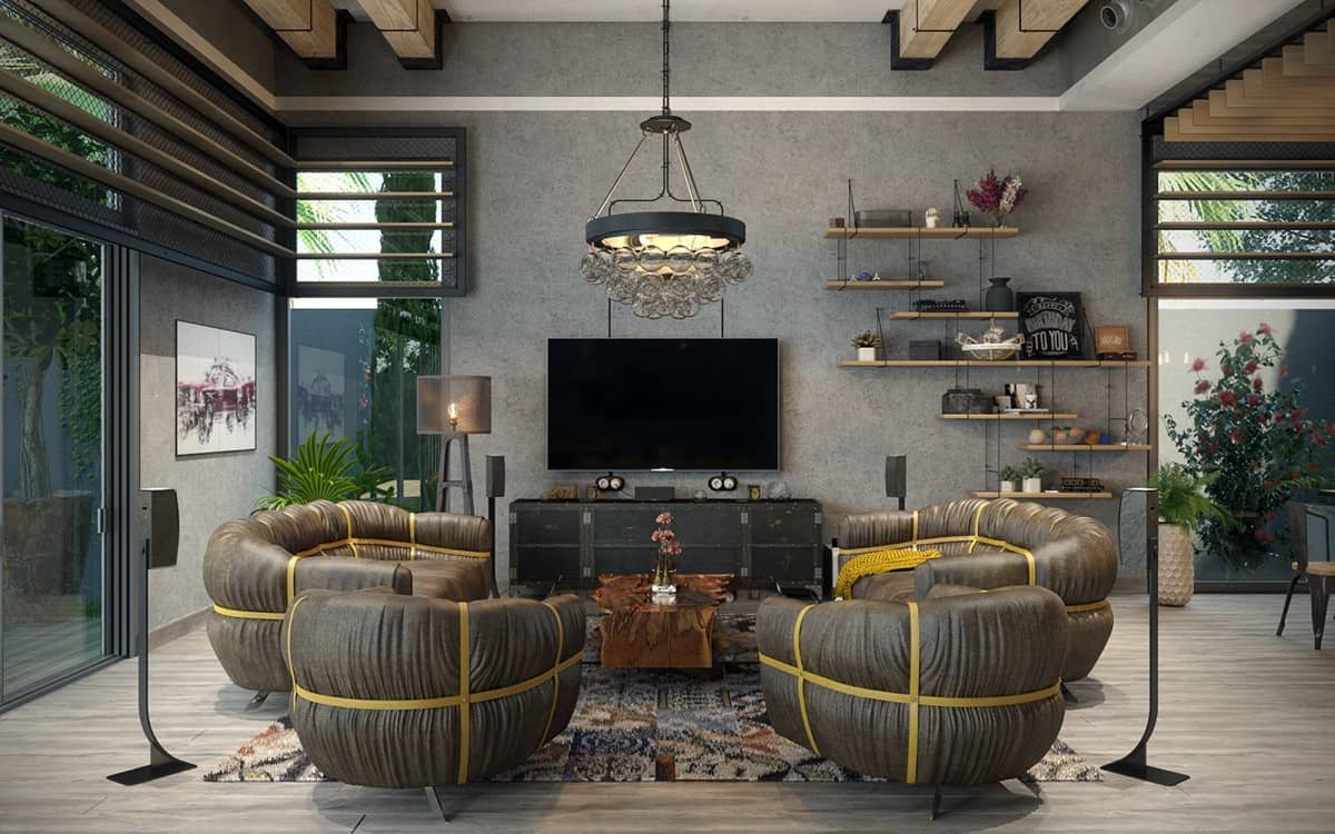 industrial lving room Rustic Industrial Living Room Ideas to Inspire