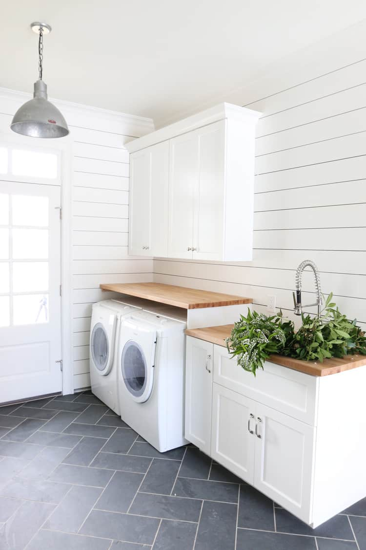 painted shiplap in white
