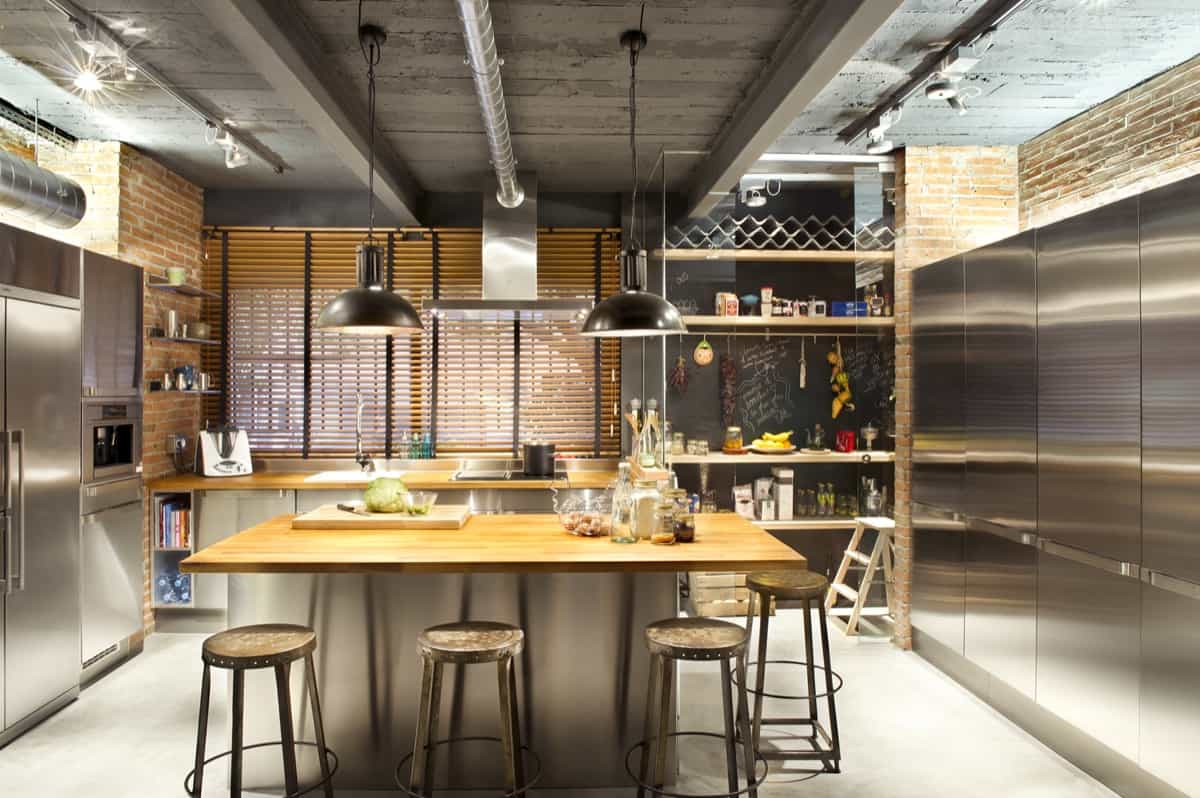 uncovered pipes Industrial Kitchens with Alluring Style