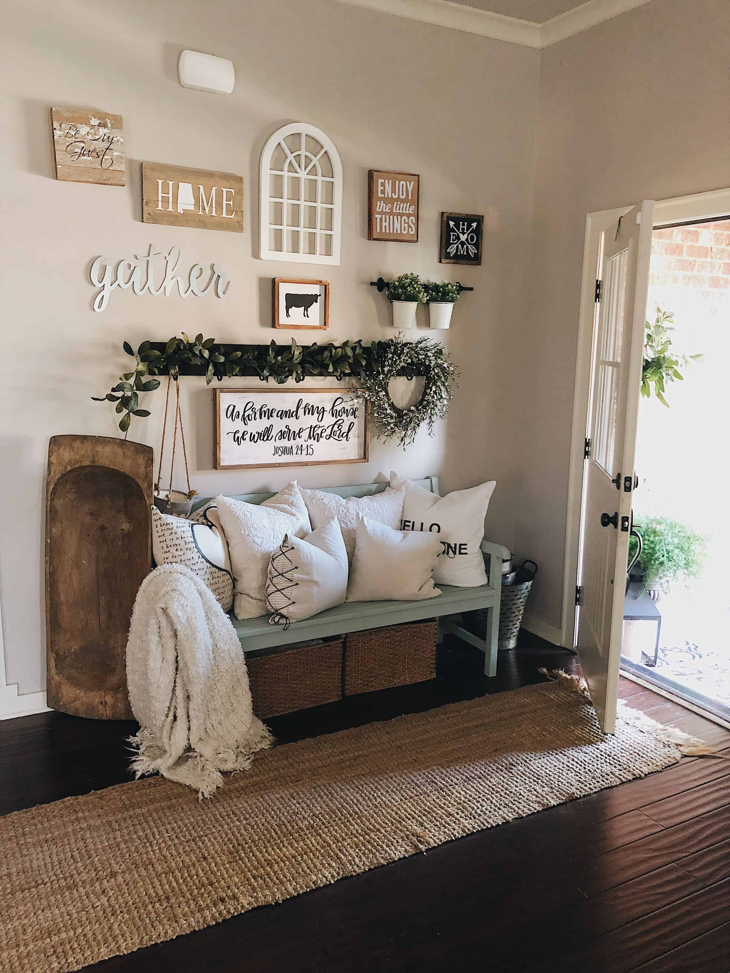 bench in entryway Swanky Summer farmhouse decorating ideas