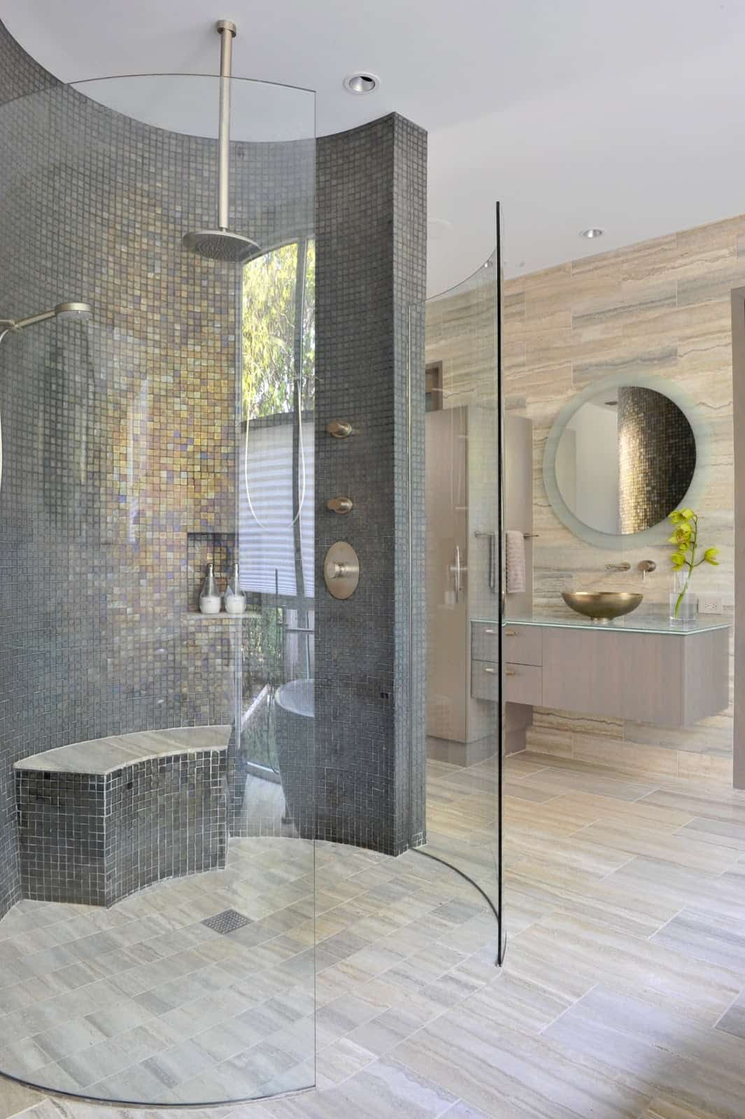 bench in shower