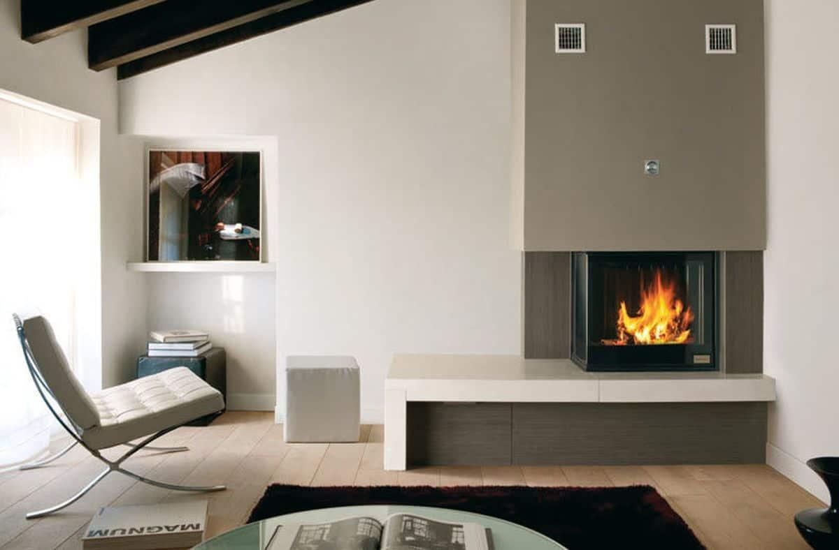 corner modern firepalce