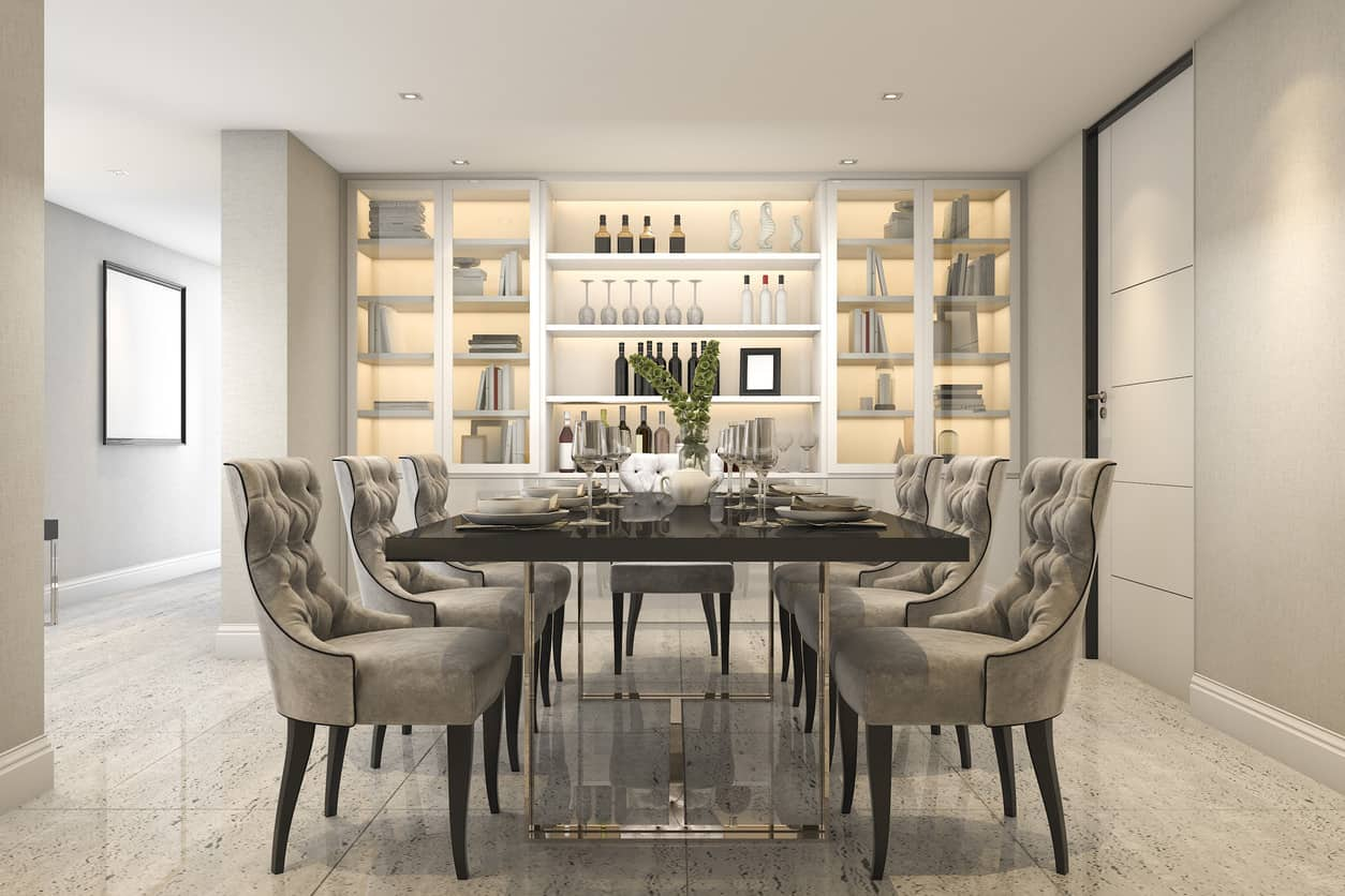 3d rendering dining set in modern luxury dining room near door