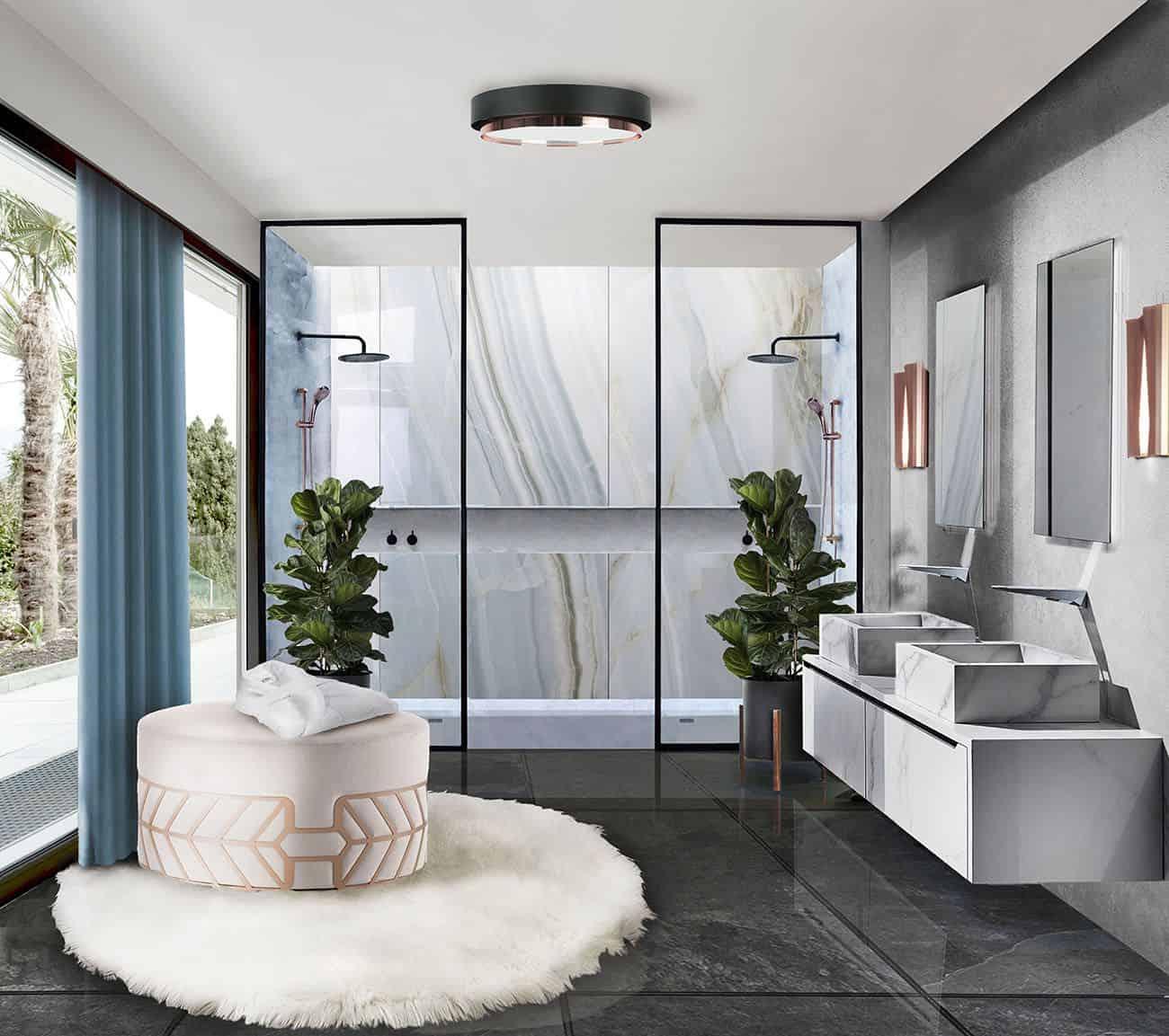 fur rug in bathroom