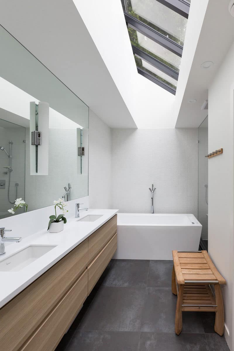 large mirror in small bathroom