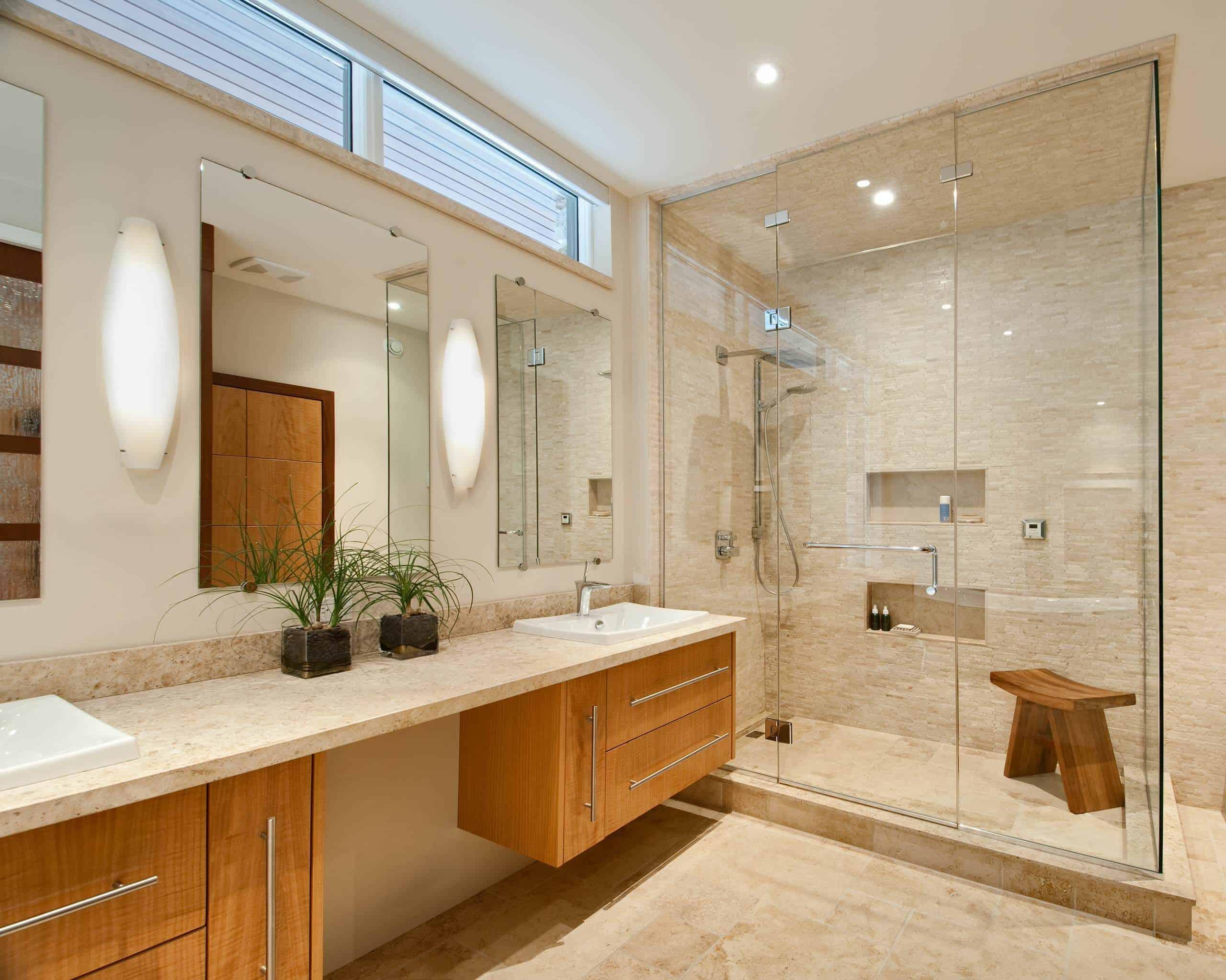 luxury bathroom with teak Best shower bench ideas to reinvent your bathroom