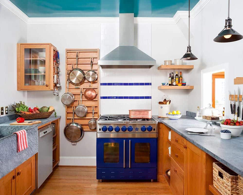 color ceiling in kitchen