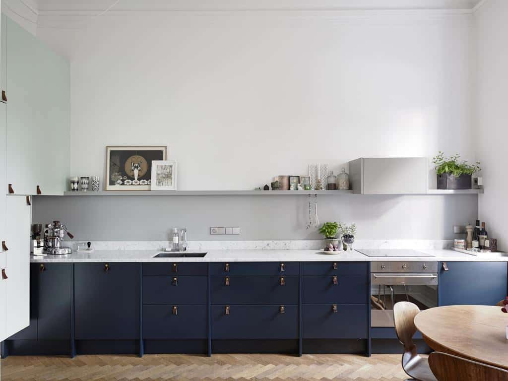 dark blue cabinets 10 Blue Kitchen Cabinet Ideas to Upgrade Your Kitchen Today