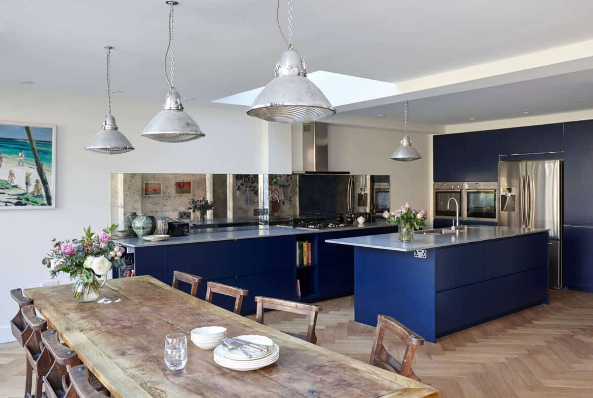 navy blye 10 Blue Kitchen Cabinet Ideas to Upgrade Your Kitchen Today