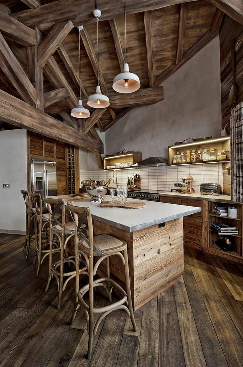 reclamed wood in kitchen