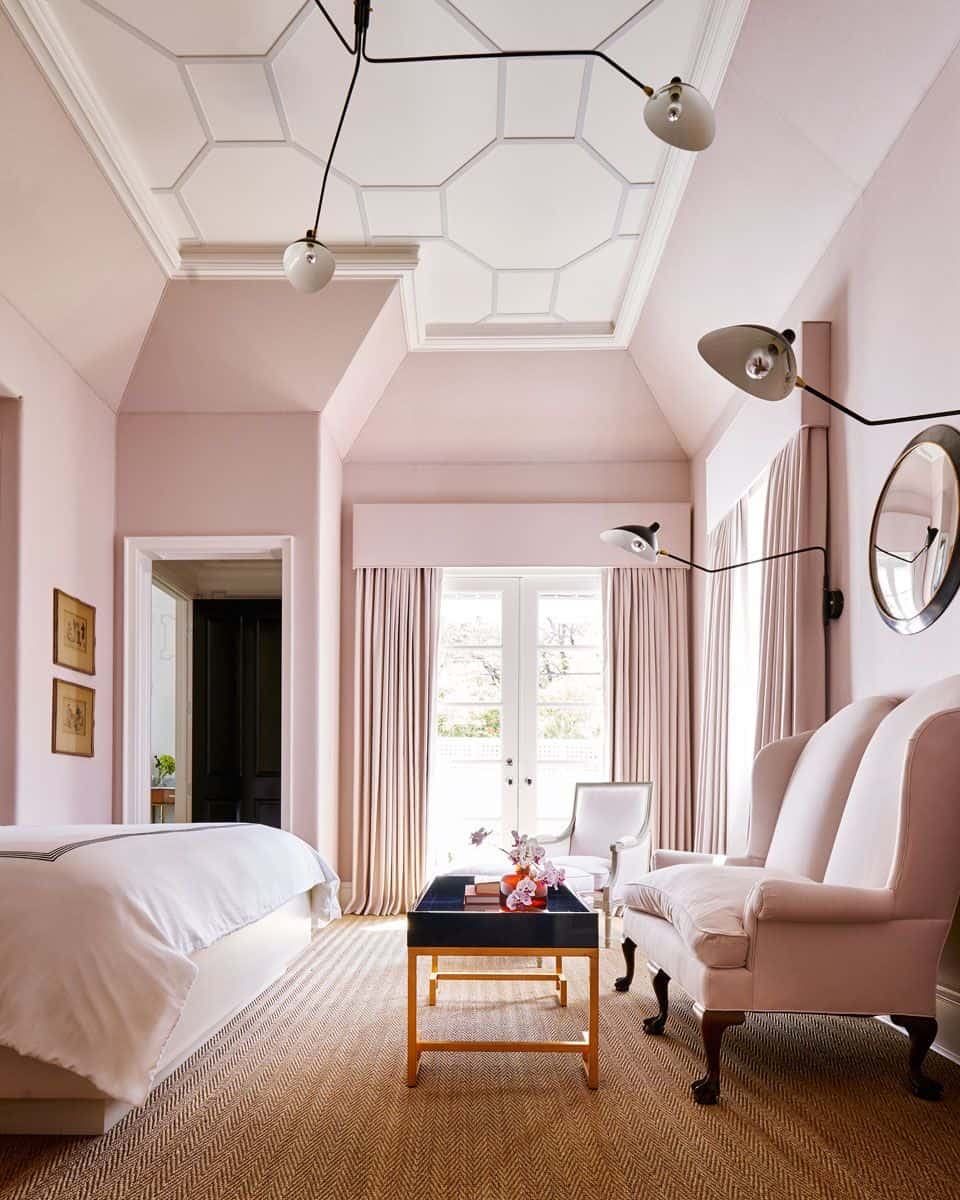 blush pink in bedroom