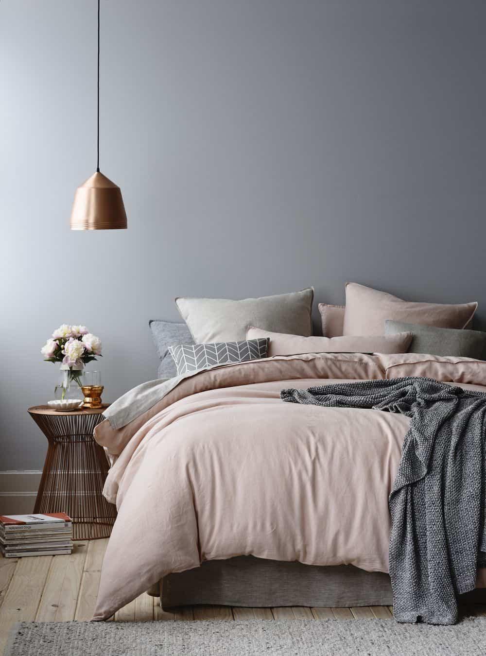 gray walls in bedroom