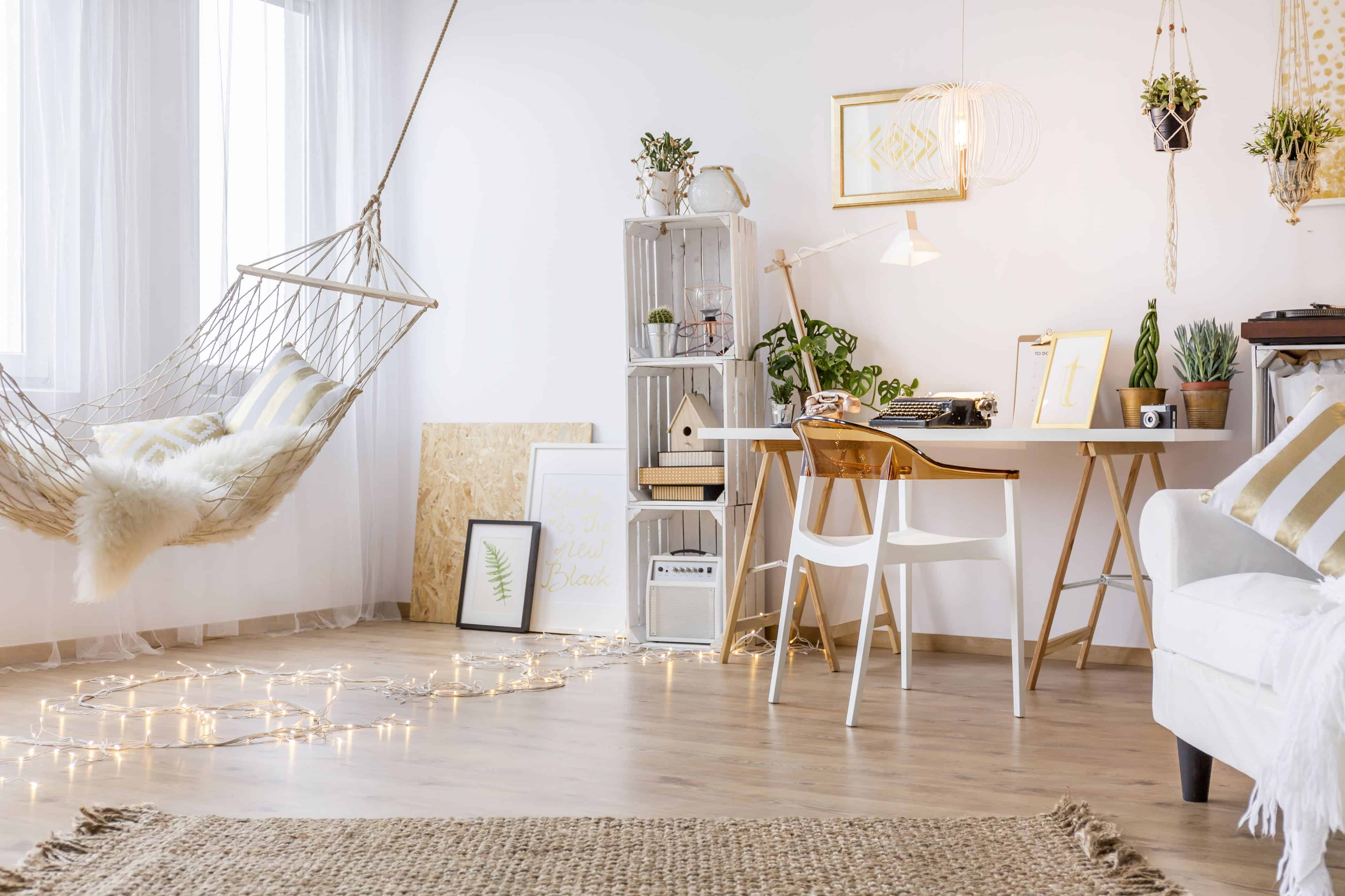 hanging chair in ling room