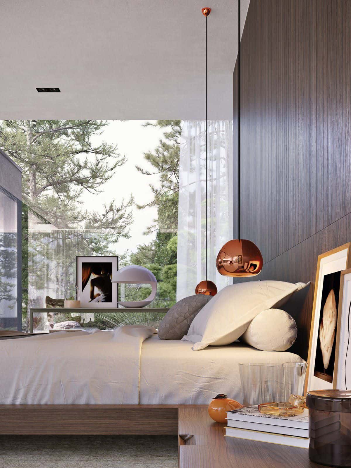 masculine bedroom with a view