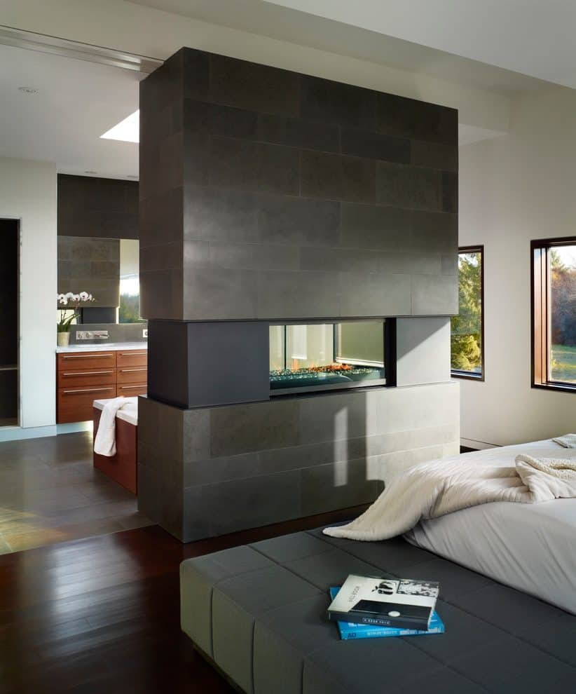 masculine bedroom wuth fireplace