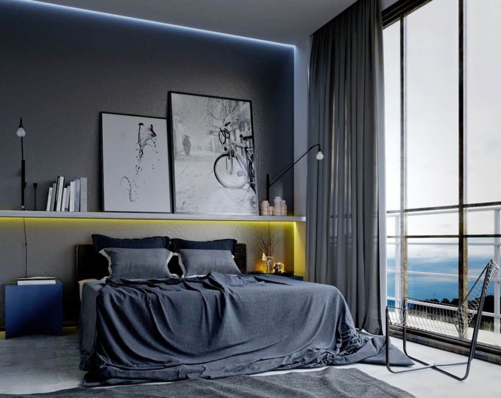 masculine blue room