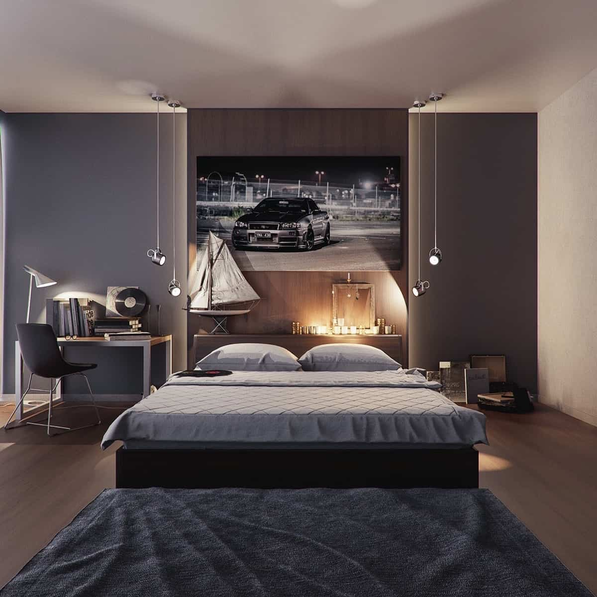 shades of gray masculine bedroom