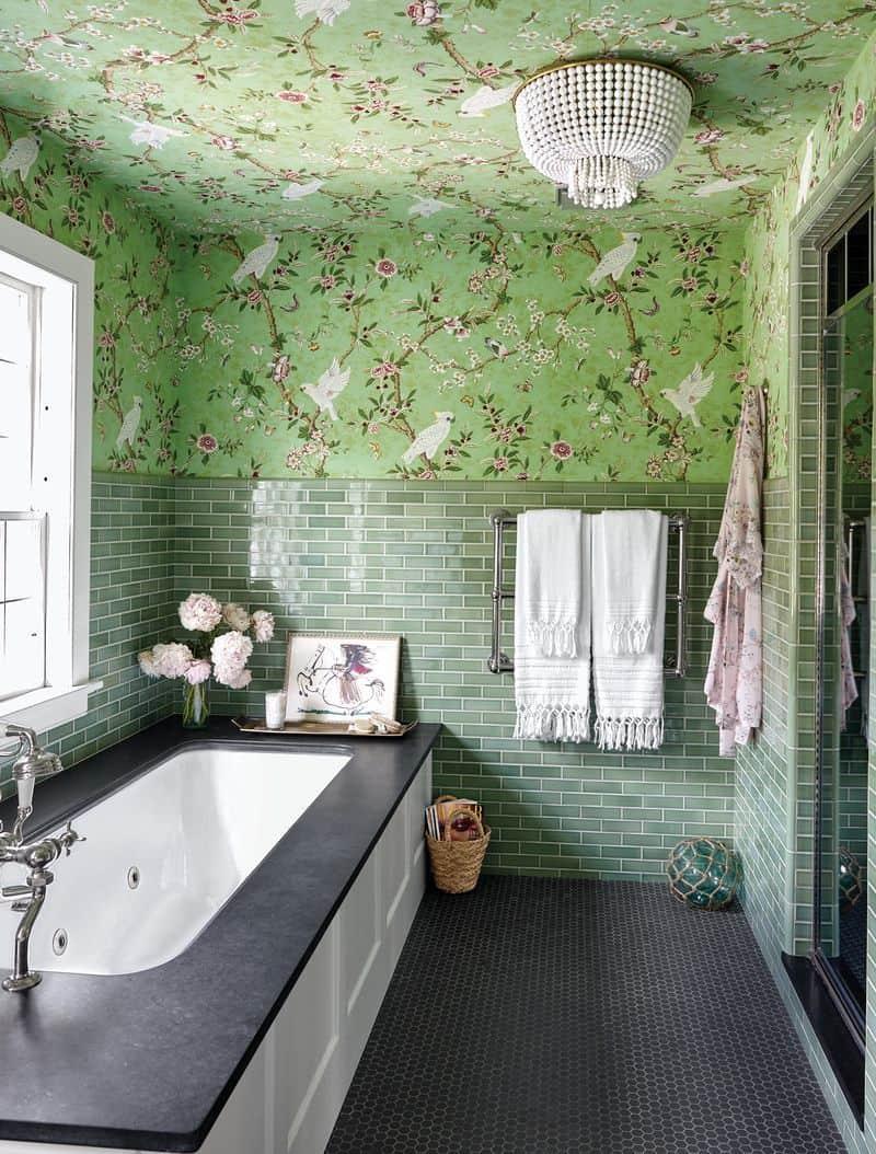 green tiles in bathroom