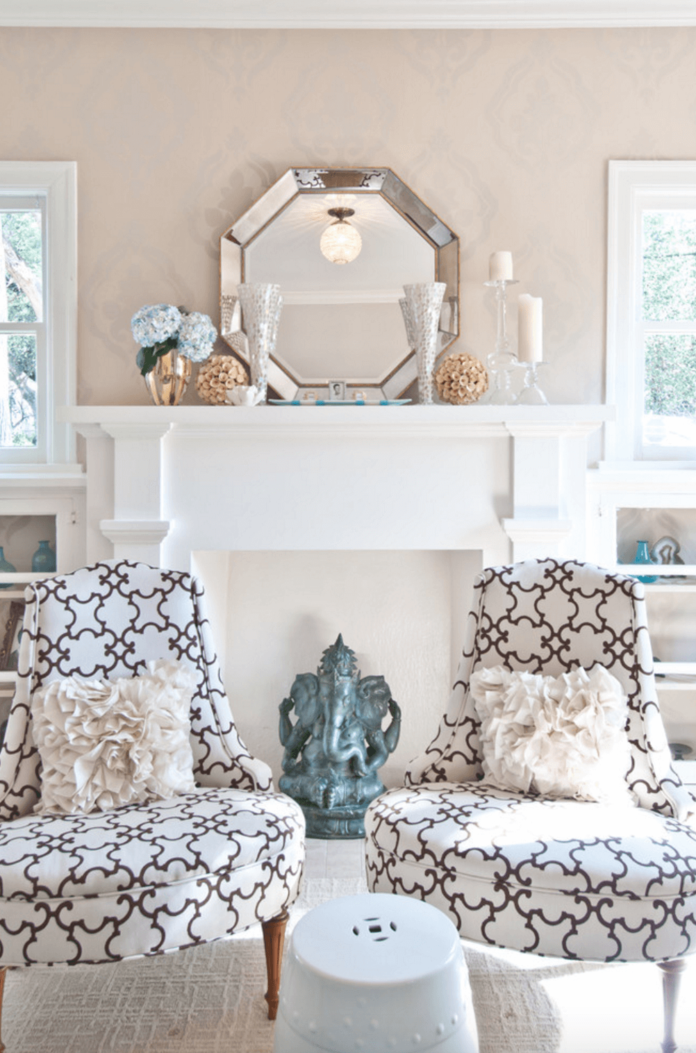 living room with mantel