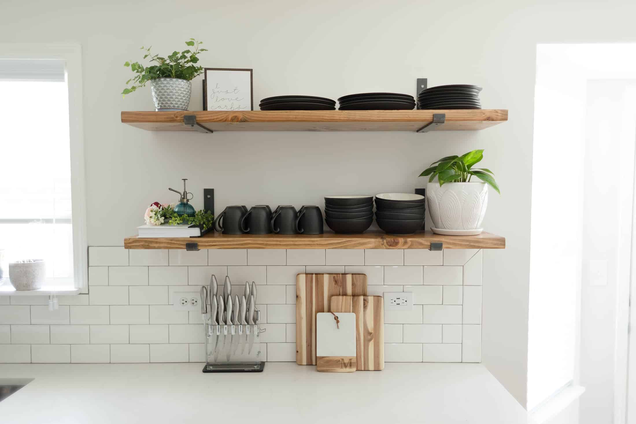 minimal shelves in kitchen Kitchen Shelving Ideas That Won't Break The Bank