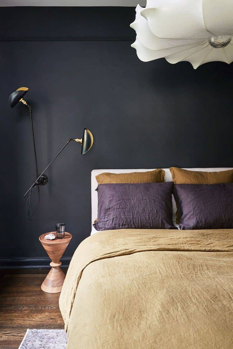 contrasting color in black bedroom