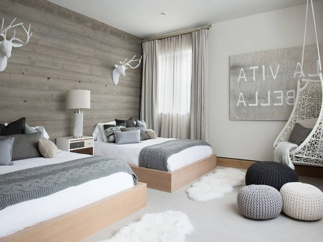 gray with wood Anything But Boring Gray Bedrooms