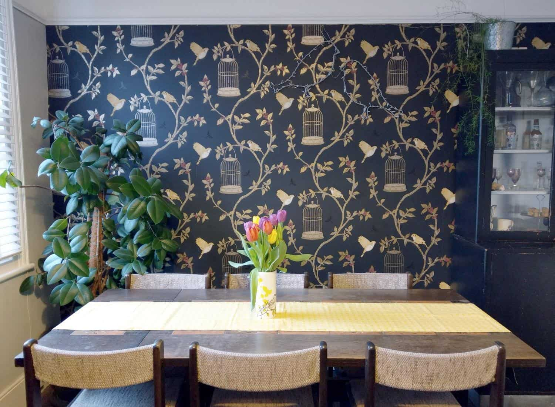 metallic wallpaper in dining room