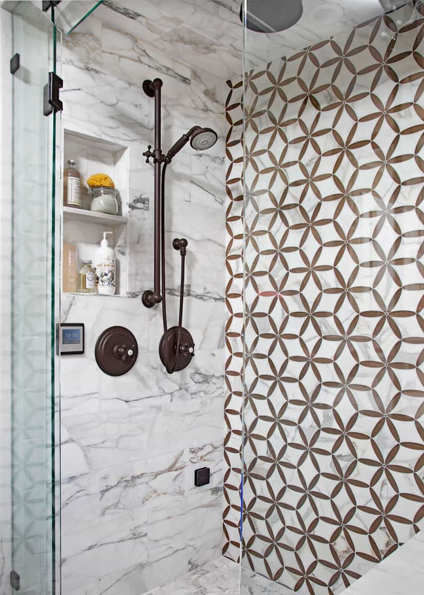 bathrub with shower tiles