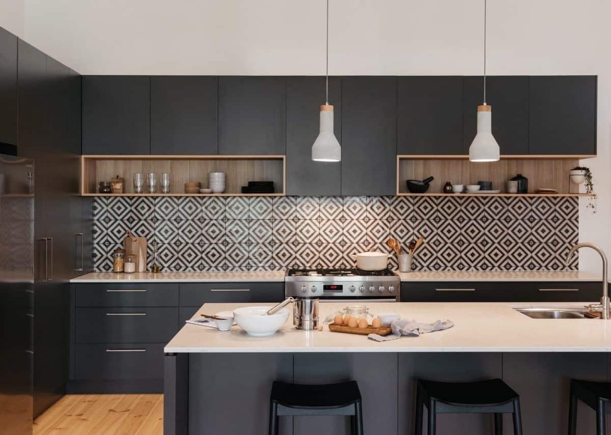 black kitchen with neutrals