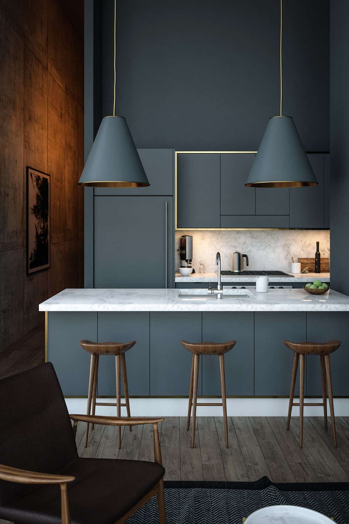blue and gray in kitchen