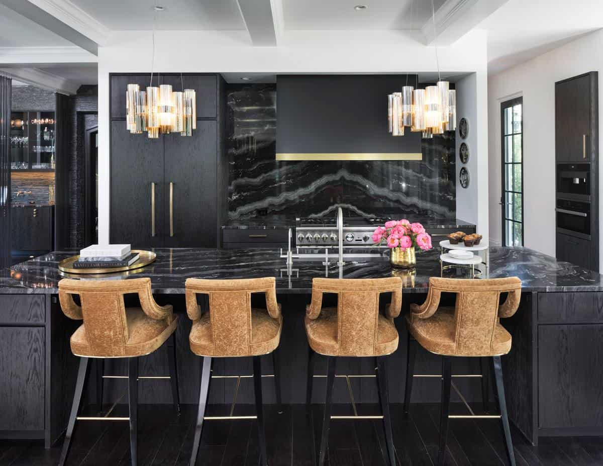 kitchen with black amrble