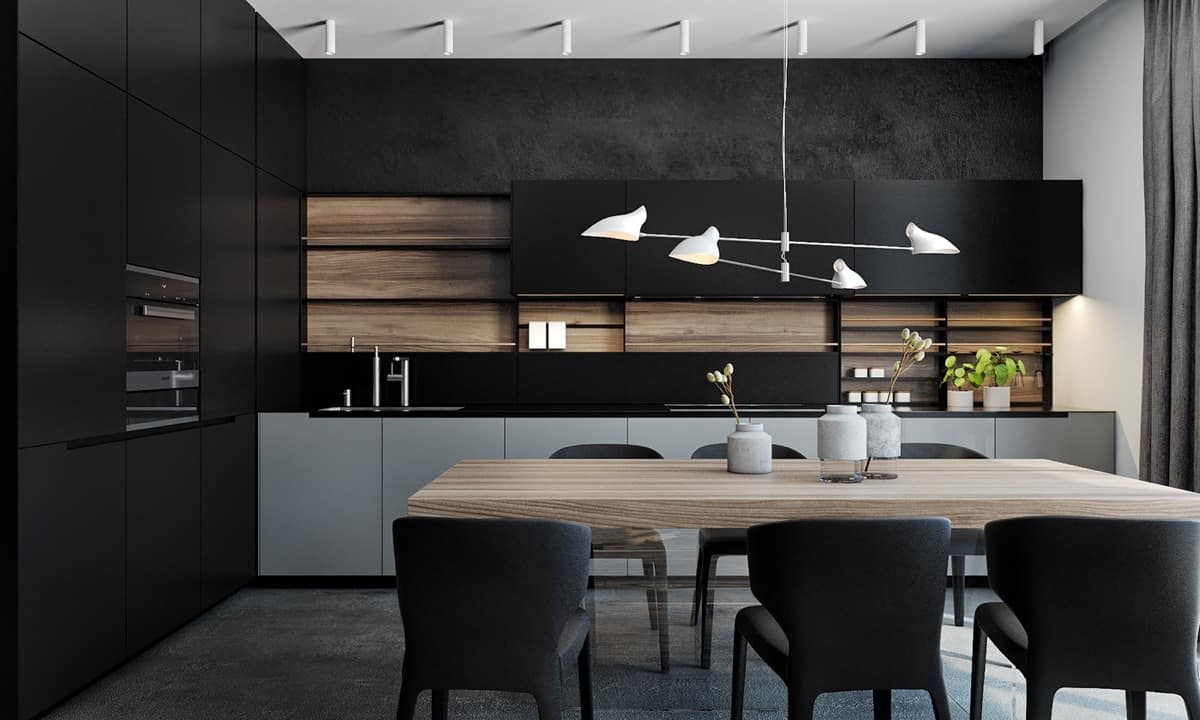 kitchen with black panels Bringing the Charm to black Kitchens