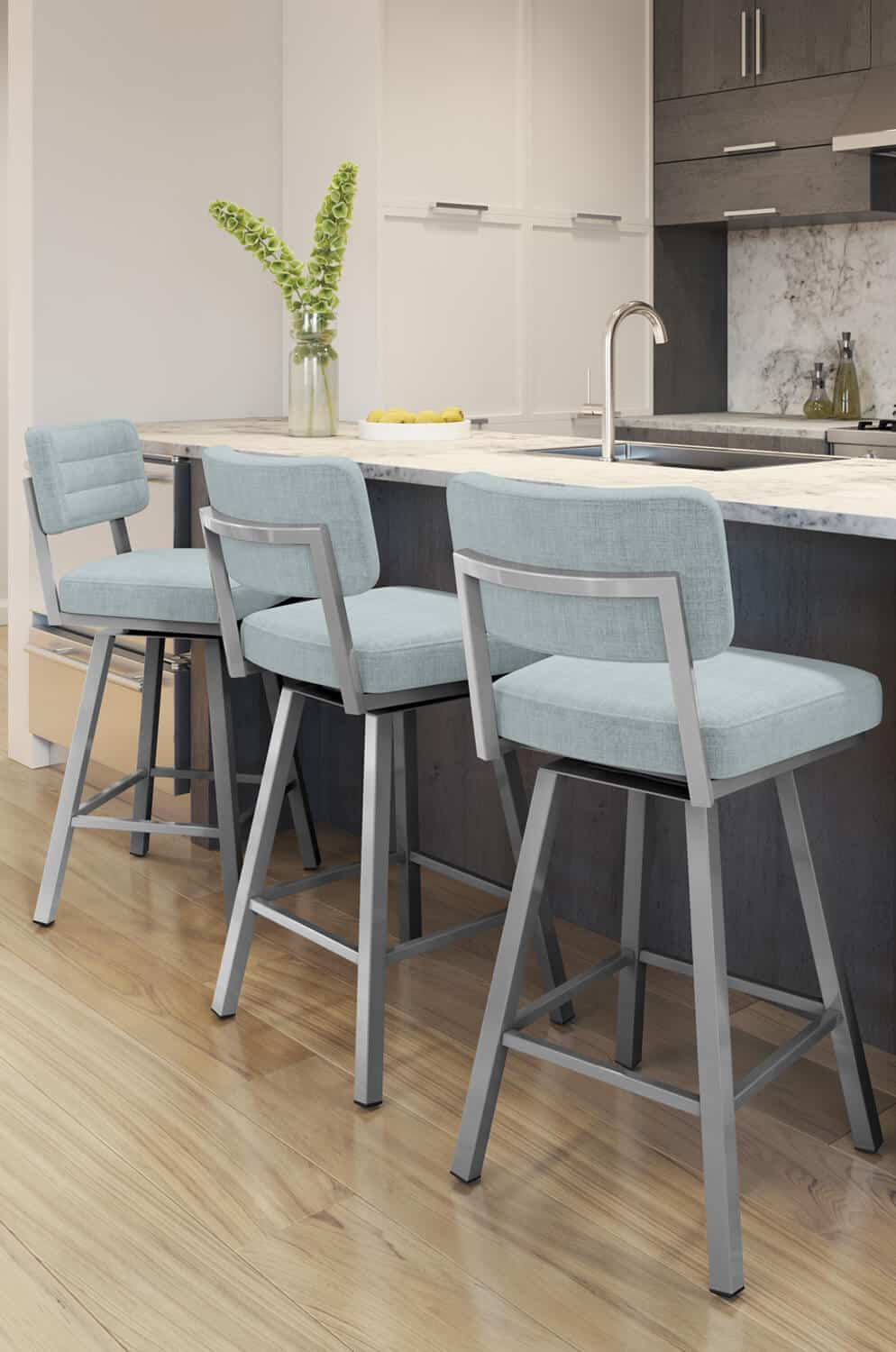 kitchen with blue stools