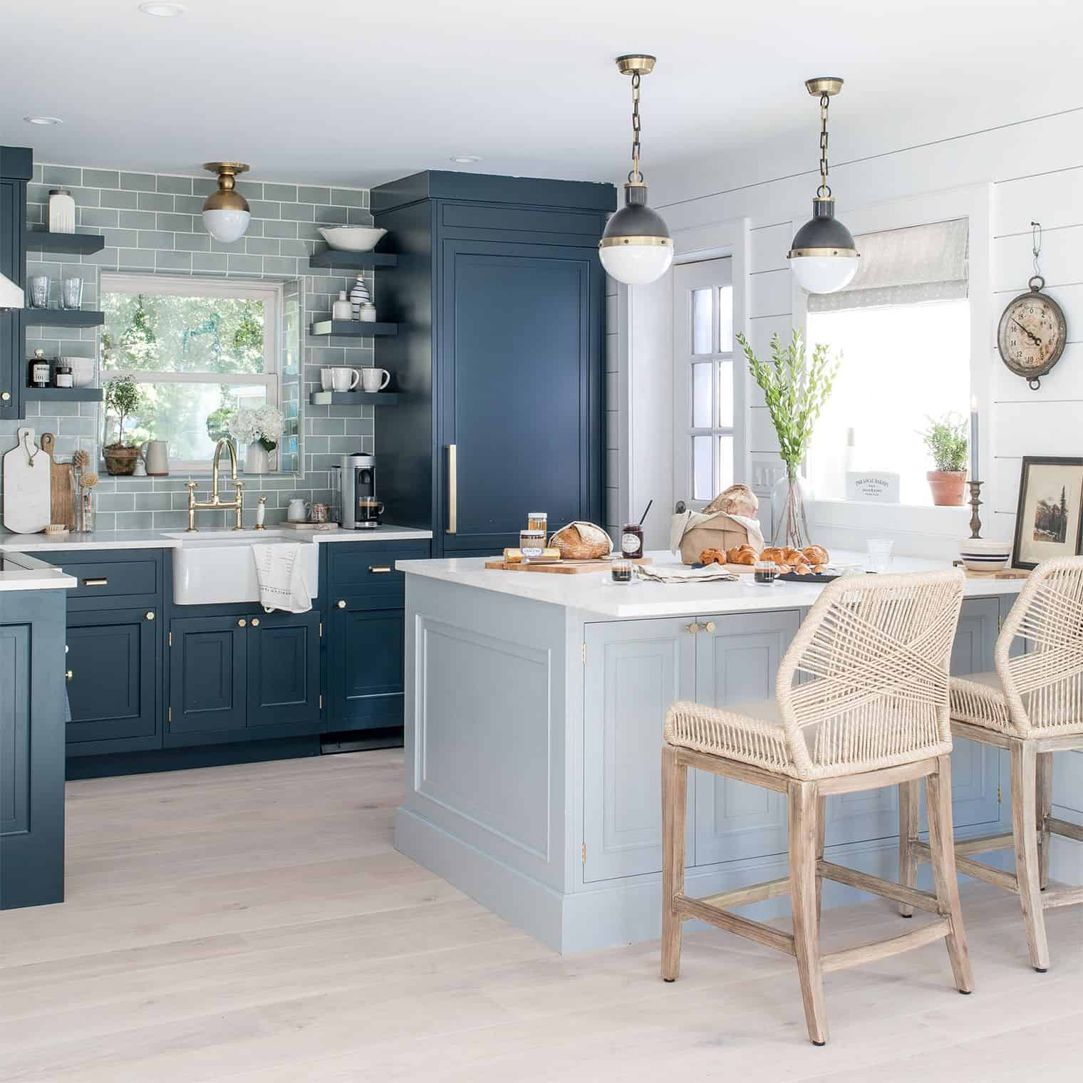 multiple shades of blue in kitchen