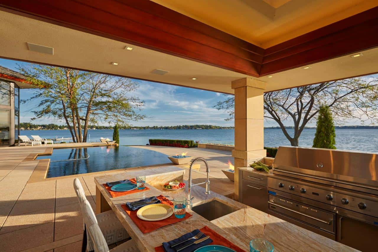 outdoor kitchen with a view