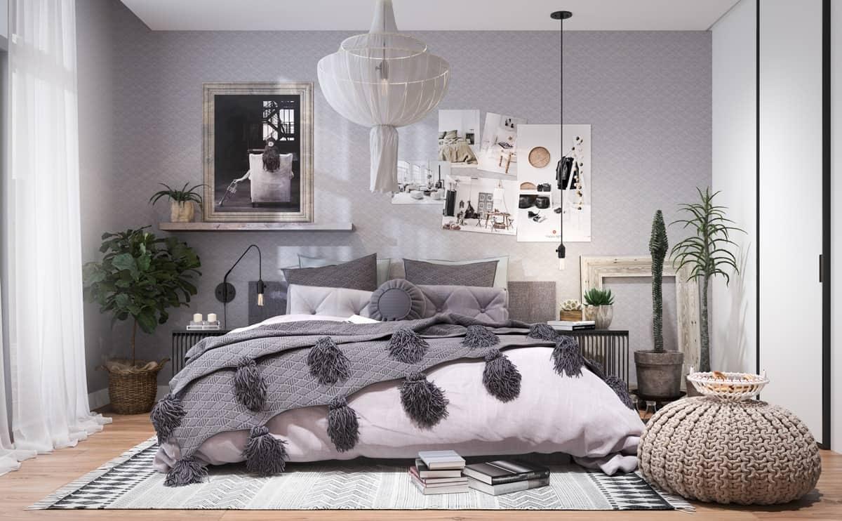 bedroom with texture