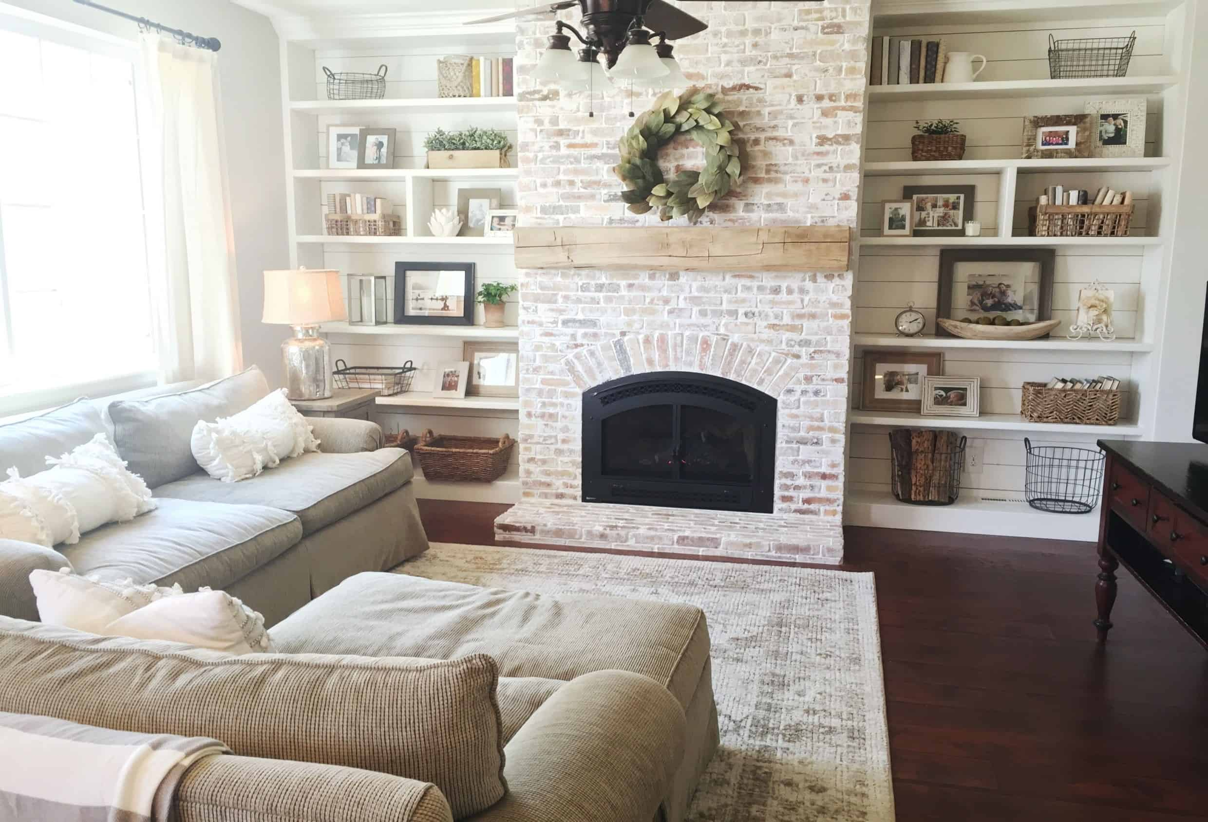 fake fireplace ideas Built ins shiplap whitewash brick fireplace bookshelf styling