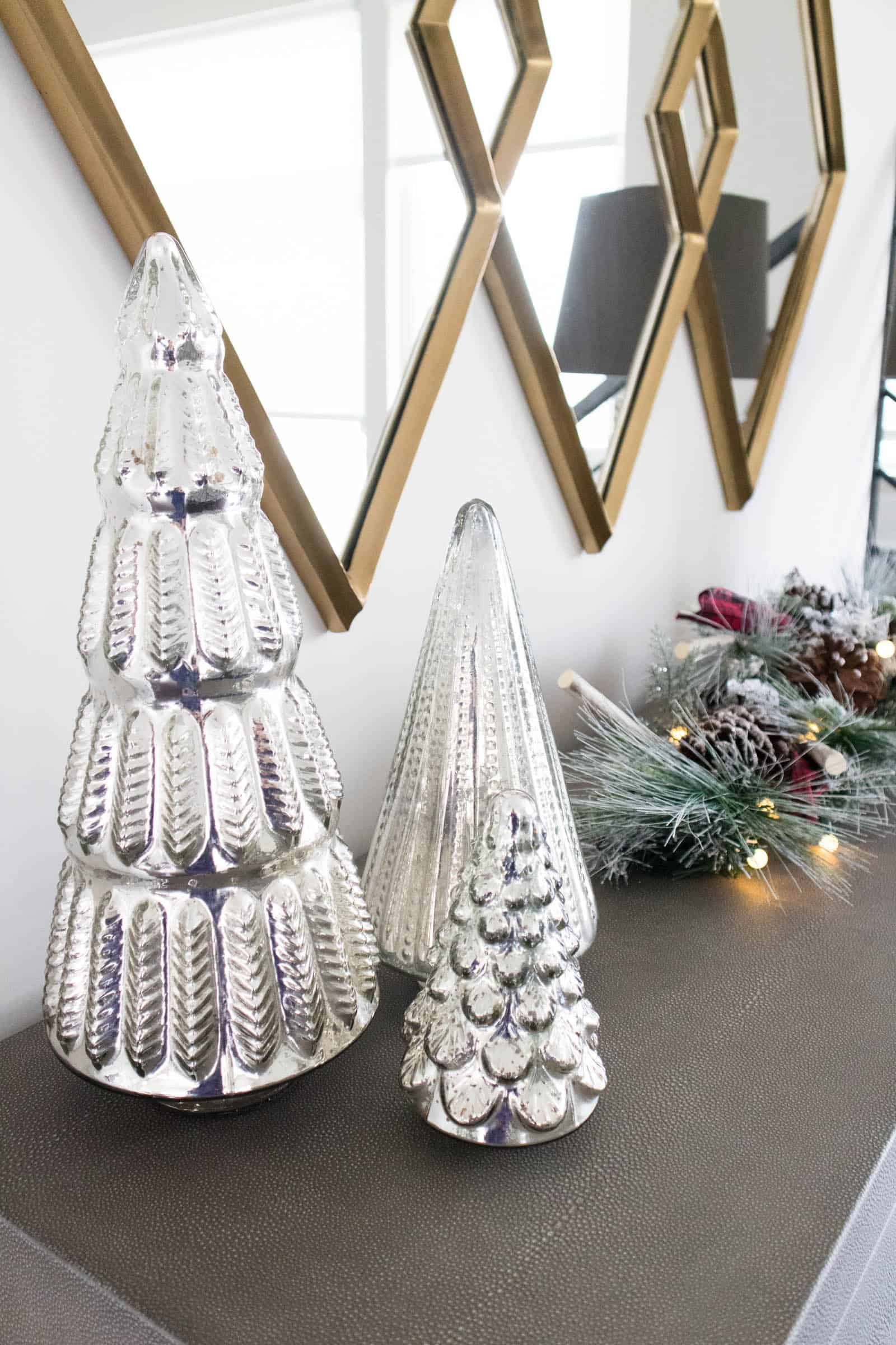 tiny christmas trees silver