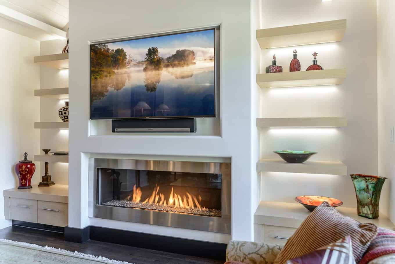 tv above the fireplace