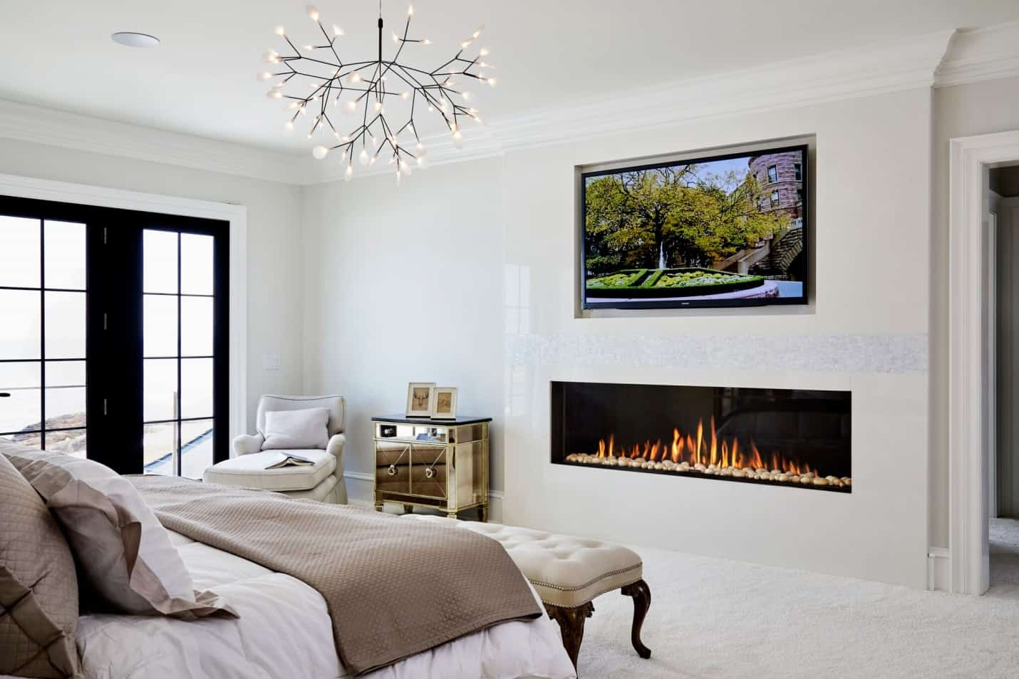 white firepalce modern