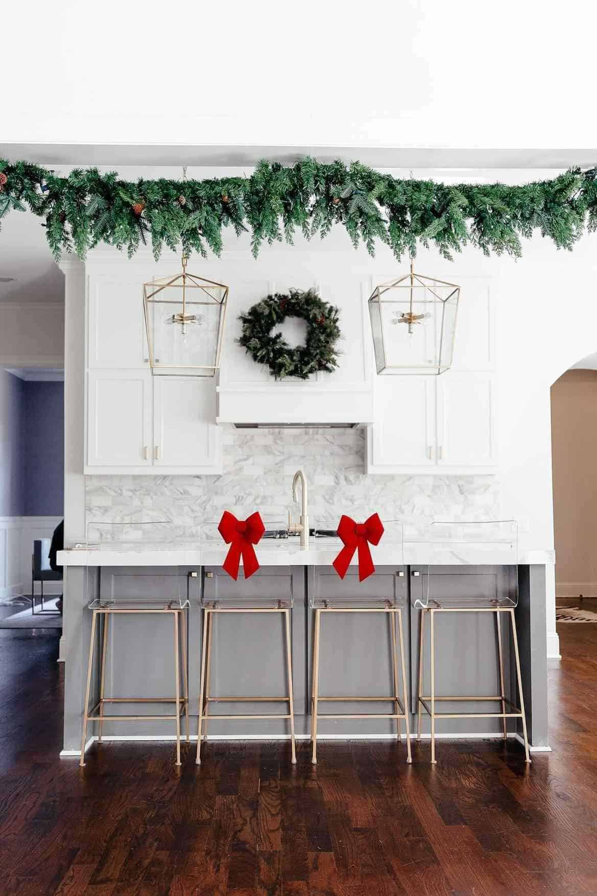 greenery in kitchen 2 Bring holiday cheer to your kitchen with these Christmas ideas