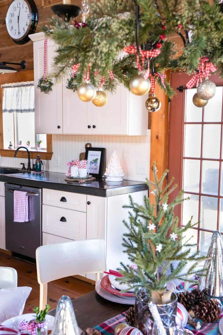 pinecones in christmas kitchen