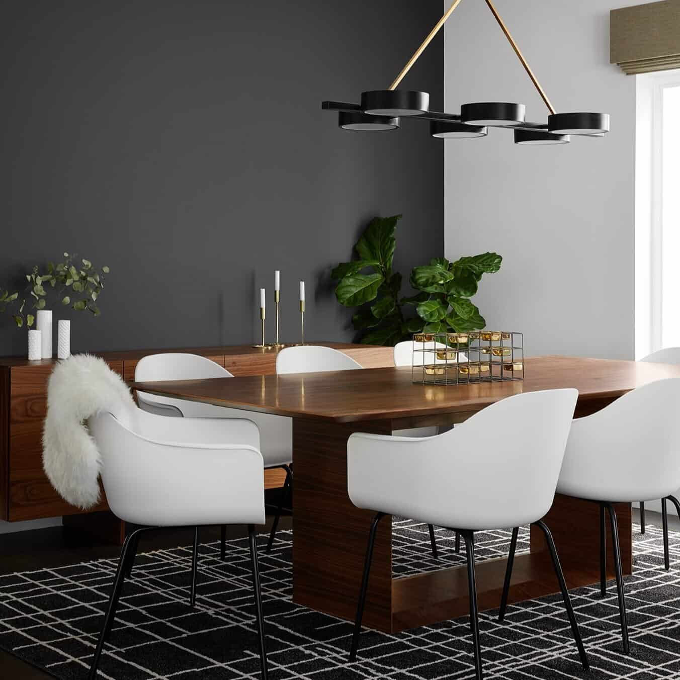 asymmetrical lines in dining room