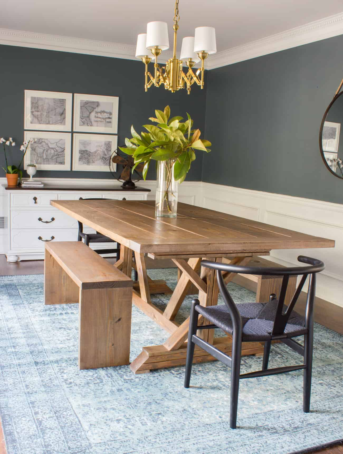 bench decor in dining room