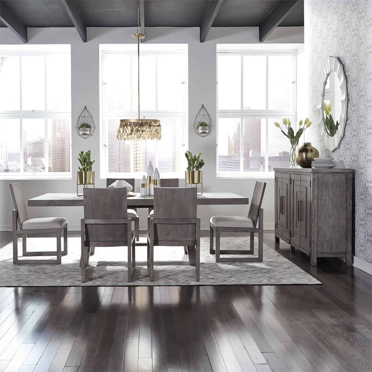 gray wood in dining room