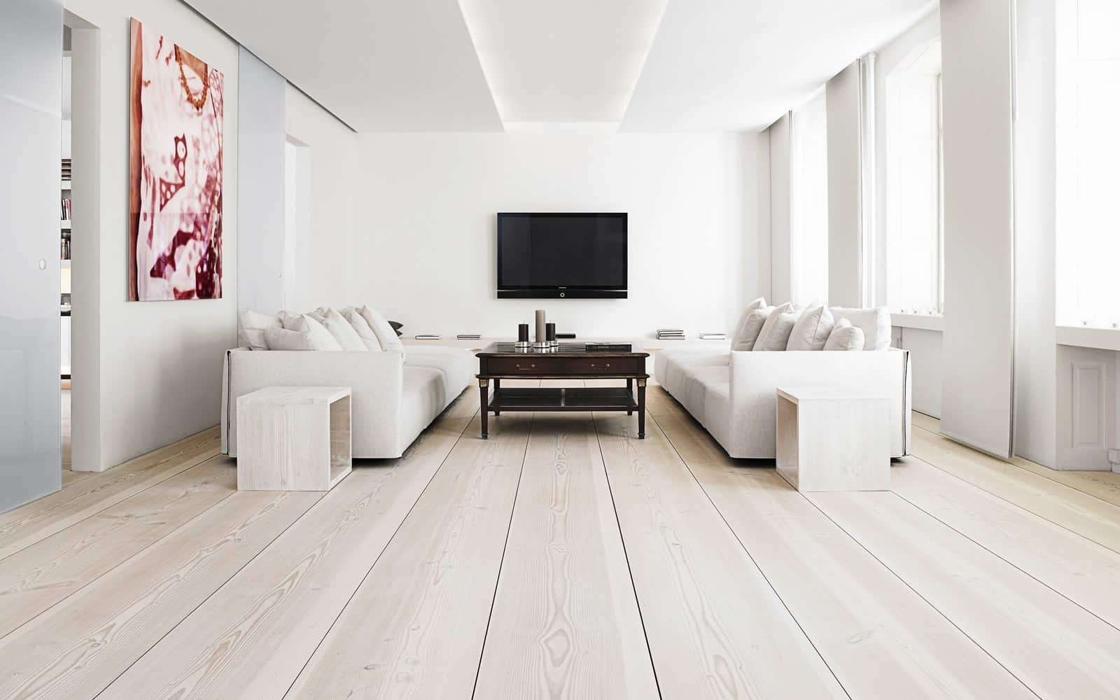 Cute Modern Living Room Design White Oak Flooring White Sofa