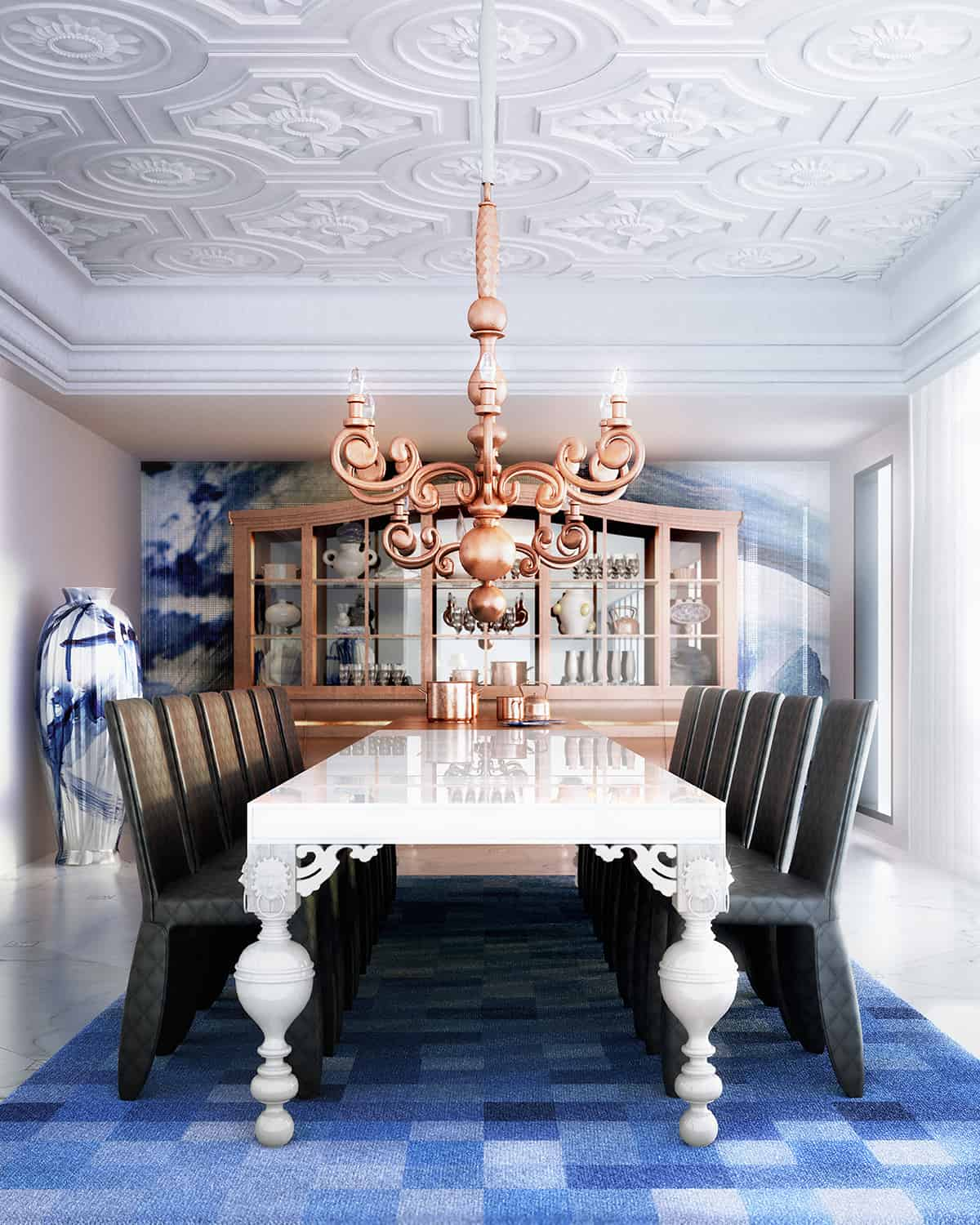 dining room with patern